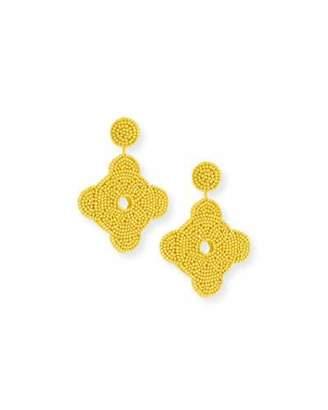 Kenneth Jay Lane Beaded Geometric Drop Earrings, Yellow