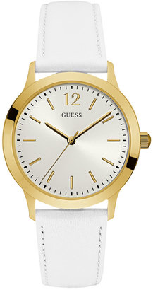 GUESS Women's White Leather Strap Watch 39mm U0922G9 $85 thestylecure.com