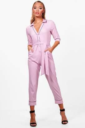 boohoo Pyjama Style Skinny Leg Jumpsuit