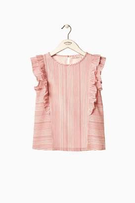 Next Girls FatFace Pink Stripe Frill Sleeve Top