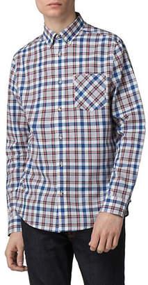 Ben Sherman Flower Power Long-Sleeve Crepe Textured Checkered Cotton Sport Shirt