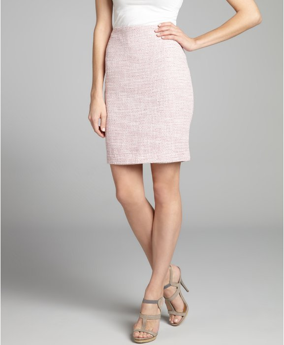 Ellen Tracy dahlia pink and ivory tweed woven pencil skirt