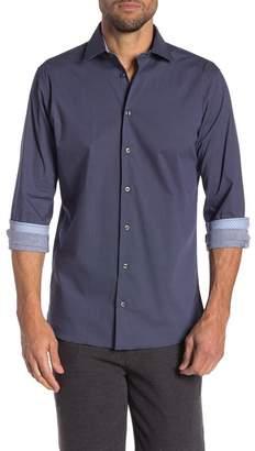 14th & Union Dot Print Stretch Trim Fit Shirt
