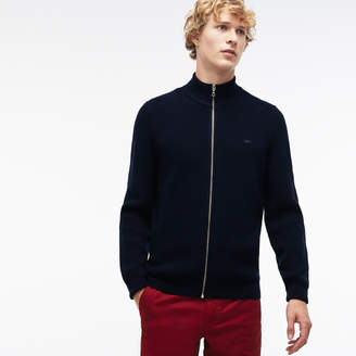 Lacoste Men's Zippered Stand-Up Collar Ribbed Wool Cardigan