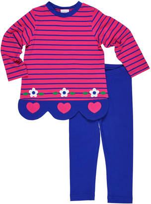 Florence Eiseman Striped Heart & Flower Scallop-Hem Top w/ Matching Leggings, Size 2-6X