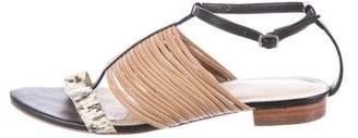 Loeffler Randall Snakeskin-Trimmed Leather Sandals