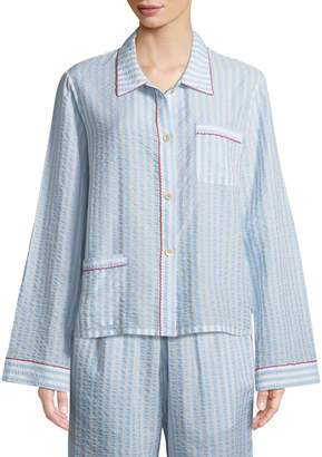Neiman Marcus Morgan Lane Ruthie Striped Seersucker Pajama Top