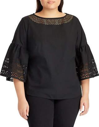 Lauren Ralph Lauren Plus Plus Laser-Cut Cotton Poplin Bell-Sleeve Top