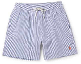 Polo Ralph Lauren Mid-Length Striped Cotton-Blend Seersucker Swim Shorts