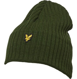Vintage Mens Knitted Ribbed Beanie Woodland Green