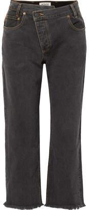 Monse Leather-trimmed Boyfriend Jeans - Black