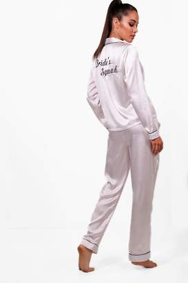 boohoo Brides Squad Satin Trouser Set