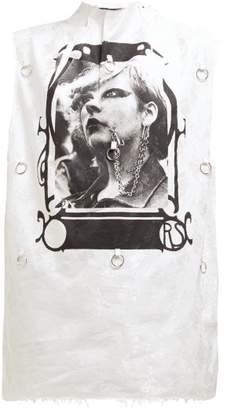Raf Simons Photographic Print Floral Jacquard Tank Top - Womens - White Multi