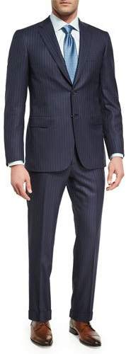 Brioni Brioni Pin-Dot Striped Super 160s Wool Two-Piece Suit, Navy