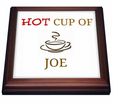 3dRose hot cup of joe, red and brown lettering with picture of cup of coffee, Trivet with Ceramic Tile, 8 by 8-inch