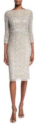 Theia 3/4-Sleeve Embellished Sheath Dress, Platinum $795 thestylecure.com