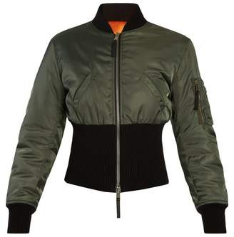 Alexander McQueen Ribbed Hem Padded Bomber Jacket - Womens - Green