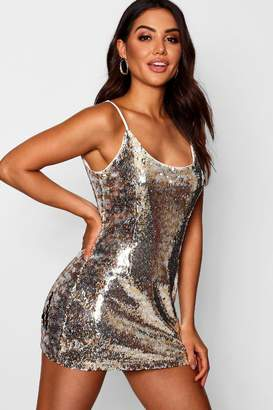 boohoo Sequin Scoop Neck Bodycon Dress