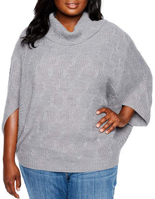 Boutique + + Cowl Neck Poncho - Plus