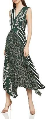 BCBGMAXAZRIA Mixed Print Ruffled Midi Dress