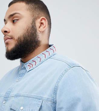 Asos Design DESIGN Plus regular fit denim shirt with beaded geo-tribal collar