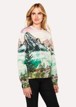 Paul Smith Women's Pastel Pink 'Mountain Scene' Print Cotton Sweatshirt
