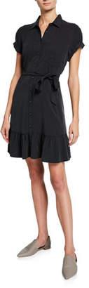 Paige Callan Belted Flounce Shirt Dress