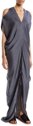 Zero Maria Cornejo Kou Multi-Stripe Cold-Shoulder Dress