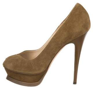 Saint Laurent Suede Peep-Toe Pumps