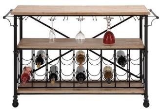 DecMode Decmode Modern 18-Bottle Fir Wood and Metal Wine Rack Table, Black