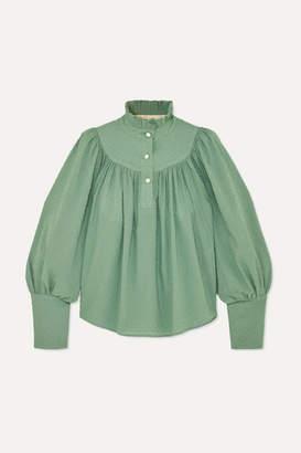 Anna Mason - Kasia Gathered Swiss-dot Cotton Blouse - Green