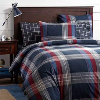 Pottery Barn Teen Walker Plaid Duvet Cover, Red, Twin/Twin XL