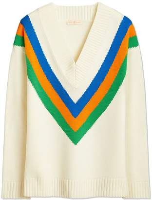 Tory Burch COLOR-BLOCK V-NECK SWEATER