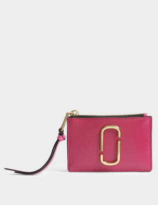 Marc Jacobs Snapshot Top Zip Multi Wallet in Hibiscus Split Cow Leather