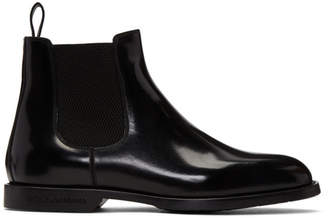 Dolce & Gabbana Black Leather Chelsea Boots