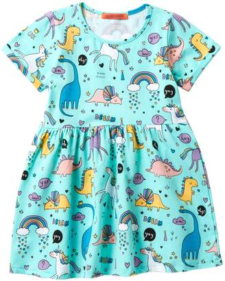 Funkyberry Dinosaurs & Unicorns Dress (Toddler & Little Girls)