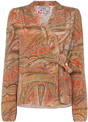 By Walid Haidee paisley-print wrap blouse