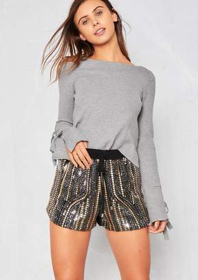 Missy Empire Missyempire Jayla Black Sequin Shorts