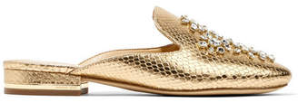 MICHAEL Michael Kors - Edie Embellished Metallic Snake-effect Leather Slippers - Gold $185 thestylecure.com