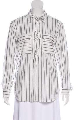Equipment Striped Lace-Up Top