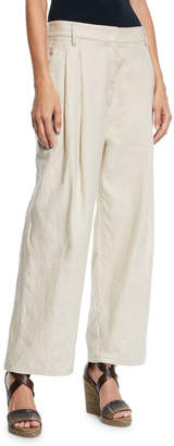 Brunello Cucinelli Rustic Linen Wide-Leg Cuffed Trousers