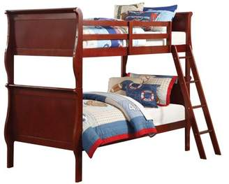 ACME Furniture ACME Louis Philippe Twin Over Twin Bunk Bed in Cherry