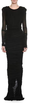 Tom Ford Long-Sleeve Round-Neck Shirred Evening Gown w/ Hood