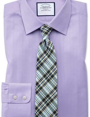 Charles Tyrwhitt Extra slim fit fine herringbone lilac shirt