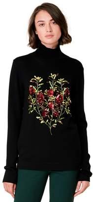 Oscar de la Renta Flower Embroidered Wool Pullover