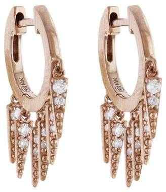 Sydney Evan Large Pavé Fringe Huggie Hoop Earrings - Rose Gold