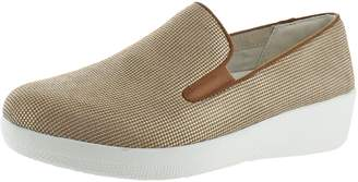 FitFlop Womens Superskate Houndstooth Print Suede Loafers /Urban White Slip-On - 8.5