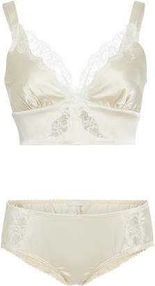 LFrank by Liseanne Frankfurt Monogram Silk Charmeuse Bralette And Brief Set