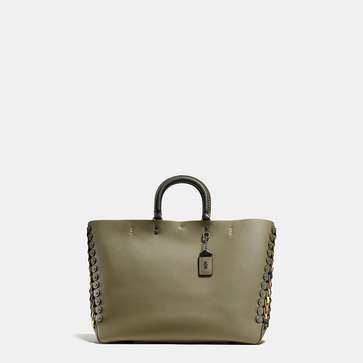 Coach   COACH Coach Rogue Tote With Link Leather Detail In Glove Calf