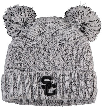 New Era Women's Gray USC Trojans Pom Duel Cuffed Knit Hat